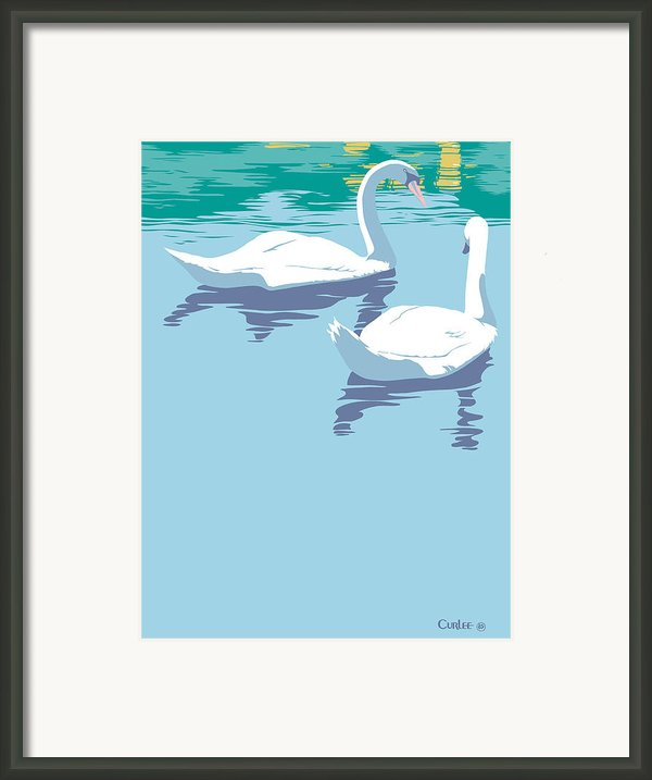 Swans Bird Lake Pop Art Nouveau Retro 80s 1980s Landscape Stylized Large Painting  Framed Print By Walt Curlee