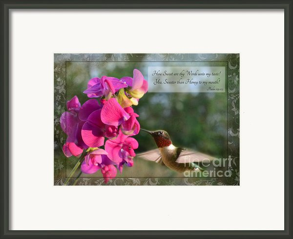 Sweet Pea Hummingbird Iv With Verse Framed Print By Debbie Portwood