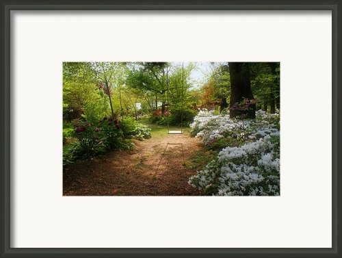 Swing In The Garden Framed Print By Sandy Keeton