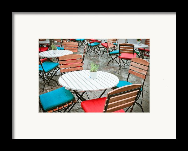 Tables And Chairs Framed Print By Tom Gowanlock