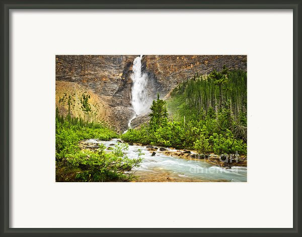 Takakkaw Falls Waterfall In Yoho National Park Canada Framed Print By Elena Elisseeva