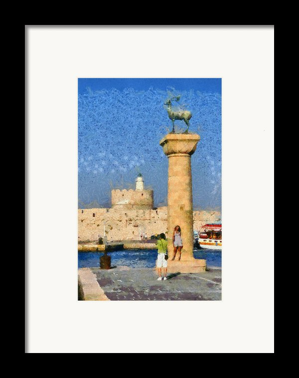 Taking Pictures At The Entrance Of Mandraki Port Framed Print By George Atsametakis
