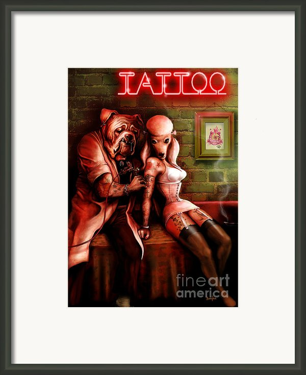 Tattoo Dogs Framed Print By Screaming Demons