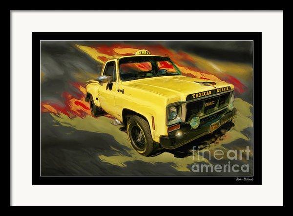 Taxicab Repair 1974 Gmc Framed Print By Blake Richards