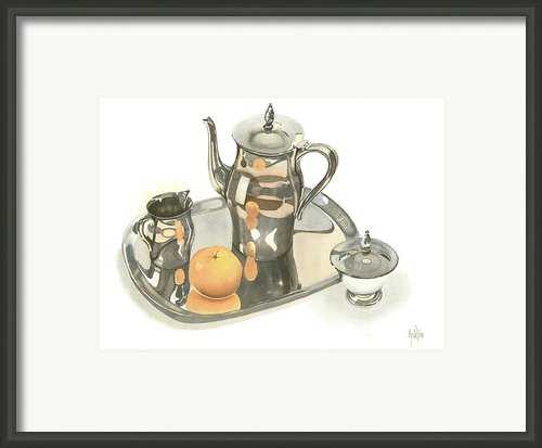 Tea Service With Orange Framed Print By Kip Devore