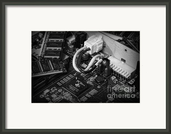 Technology - Motherboard In Black And White Framed Print By Paul Ward