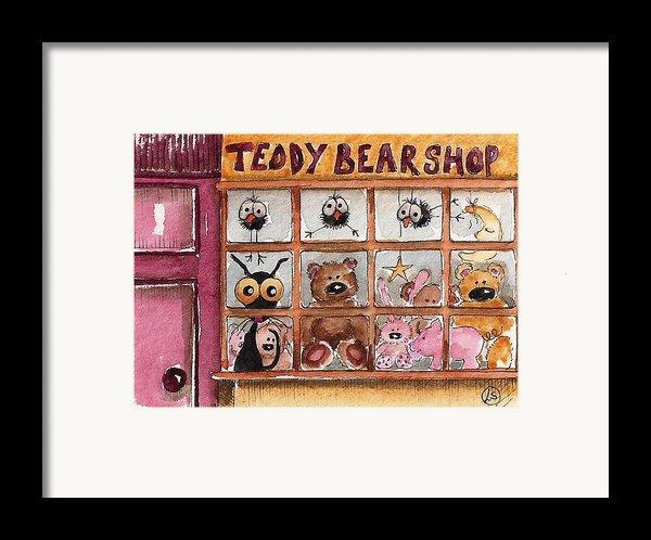 Teddy Bear Shop Framed Print By Lucia Stewart
