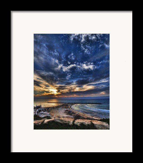 Tel Aviv Sunset At Hilton Beach Framed Print By Ron Shoshani