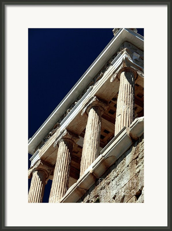 Temple Of Athena Nike Columns Framed Print By John Rizzuto