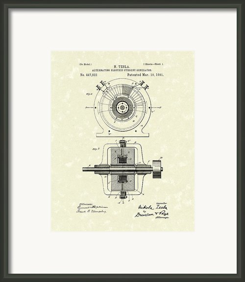 Tesla Generator 1891 Patent Art Framed Print By Prior Art Design