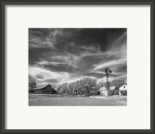 Texas Hill Country 19th Century Homestead With Windmill And Cist Framed Print By Alan Tonnesen