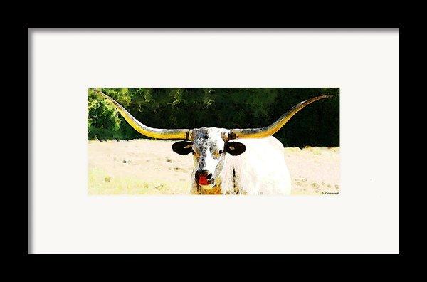 Texas Longhorn - Bull Cow Framed Print By Sharon Cummings
