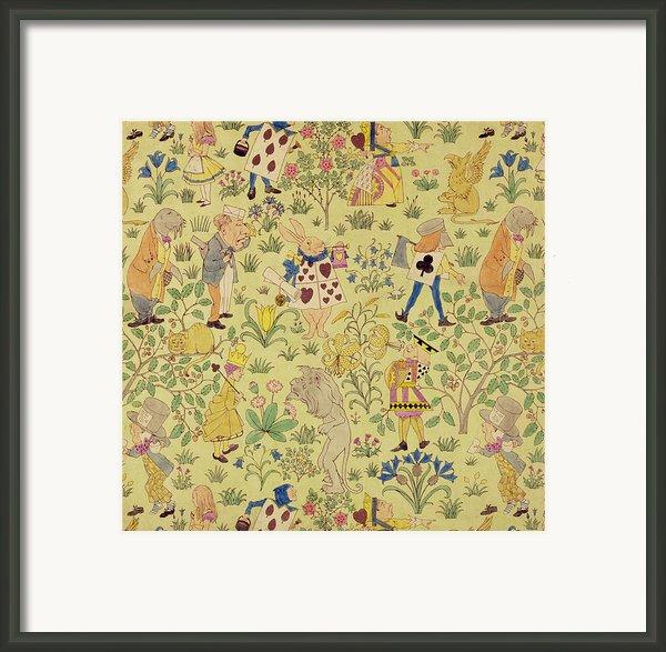 Textile Design For Alice In Wonderland Framed Print By Voysey