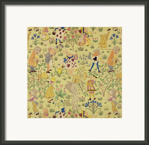 Textile Design For Alice In Wonderland Framed Print By Voysey