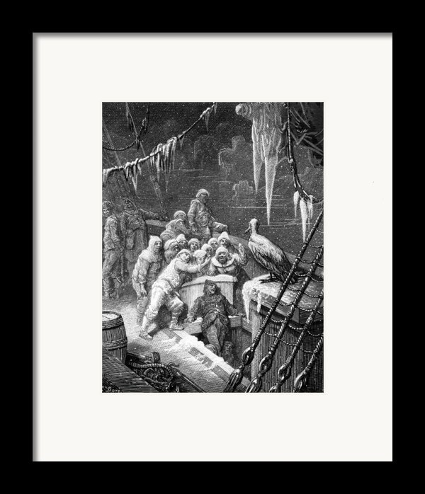 The Albatross Being Fed By The Sailors On The The Ship Marooned In The Frozen Seas Of Antartica Framed Print By Gustave Dore