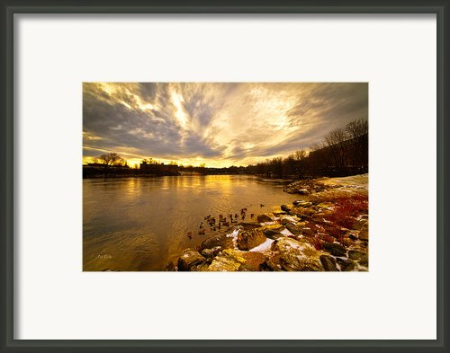 The Androscoggin River Between Lewiston And Auburn Framed Print By Bob Orsillo