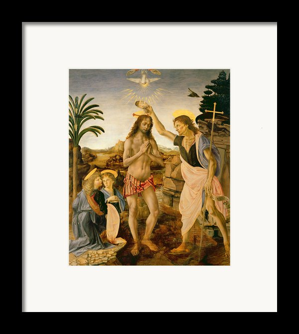The Baptism Of Christ By John The Baptist Framed Print By Leonardo Da Vinci
