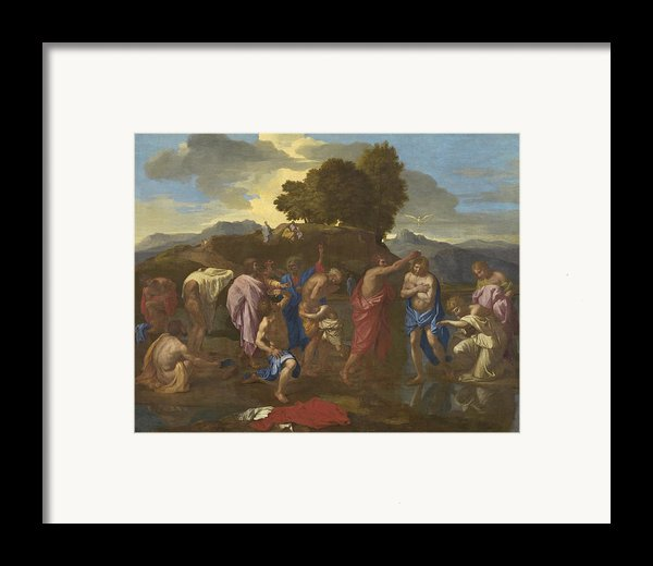 The Baptism Of Christ Framed Print By Nicolas Poussin