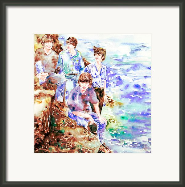 The Beatles At The Sea Watercolor Portrait Framed Print By Fabrizio Cassetta