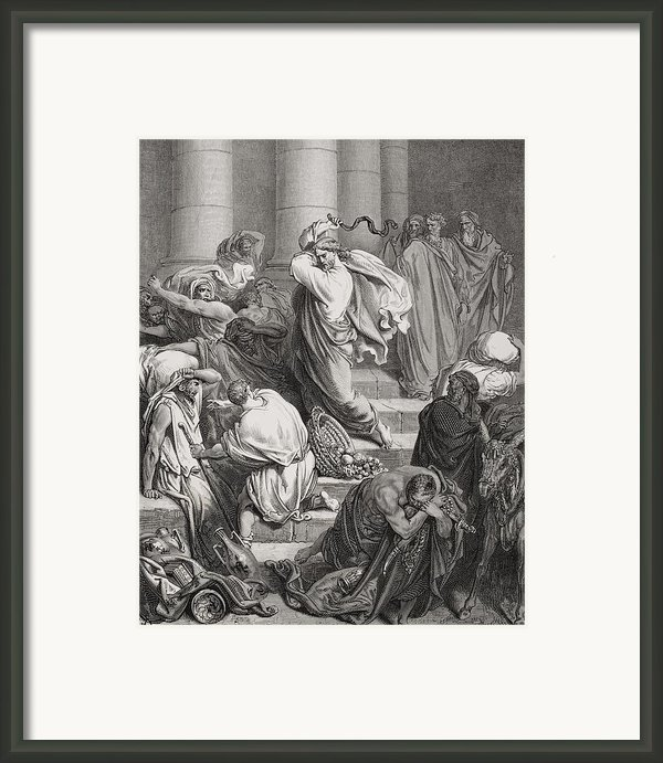The Buyers And Sellers Driven Out Of The Temple Framed Print By Gustave Dore