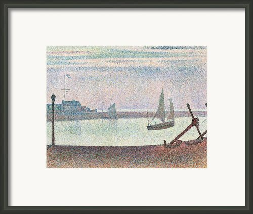 The Channel At Gravelines In The Evening Framed Print By Georges Seurat