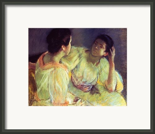 The Conversation Framed Print By Mary Stevenson Cassatt