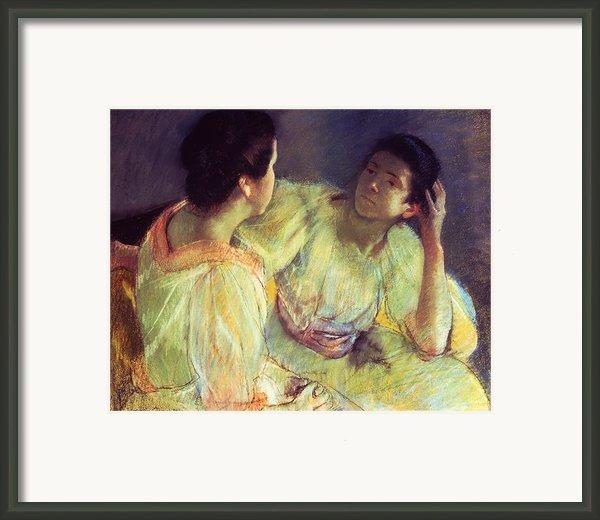 The Conversation Framed Print By Mary Stevenson Cassatt