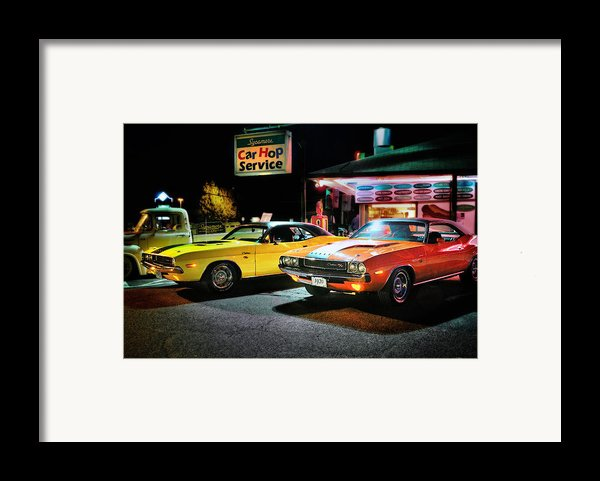The Dodge Boys - Cruise Night At The Sycamore Framed Print By Thomas Schoeller