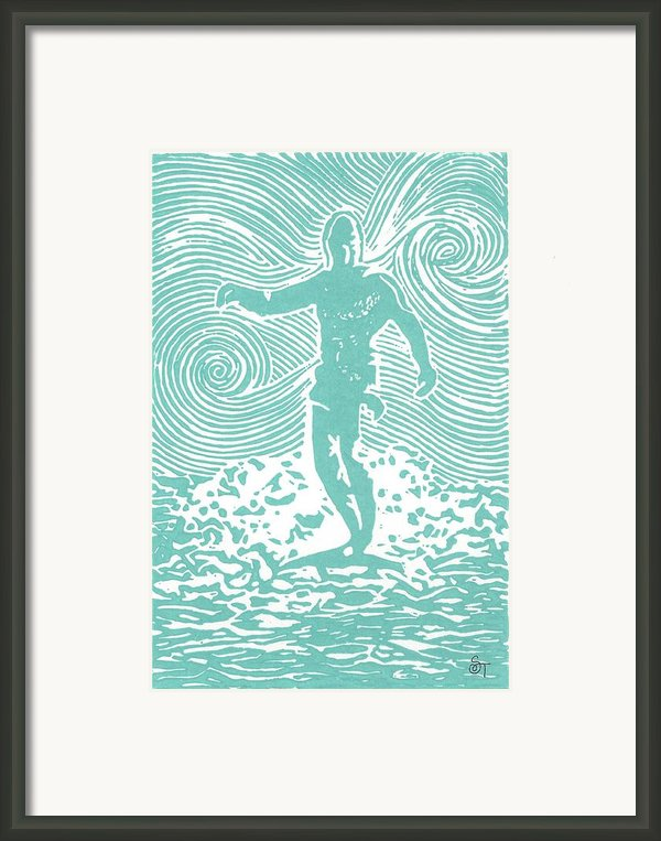 The Duke In Aqua Framed Print By Stephanie Troxell