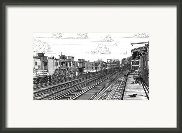 The El At Wrigley Framed Print By Bruce Kay