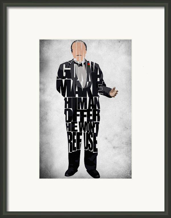 The Godfather Inspired Don Vito Corleone Typography Artwork Framed Print By Ayse Deniz