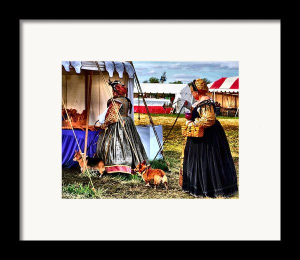 The Ladies And The Corgies Framed Print By Julie Dant