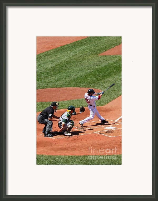 The Laser Show Dustin Pedroia Framed Print By Tom Prendergast