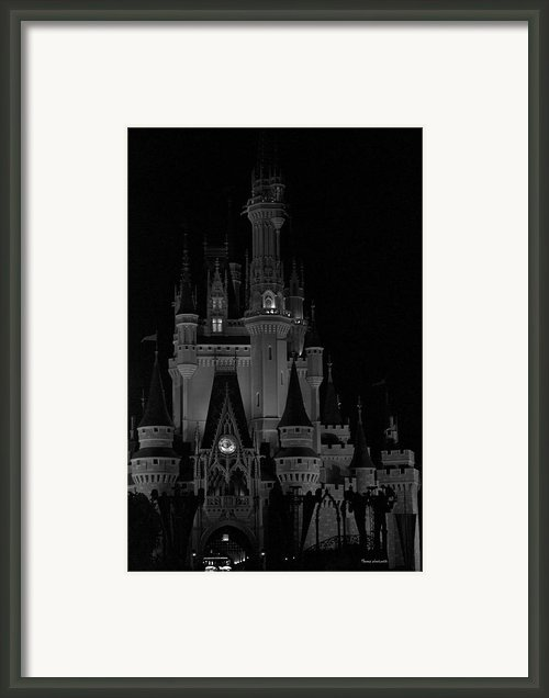 The Magic Kingdom Castle In Black And White Walt Disney World Fl Framed Print By Thomas Woolworth