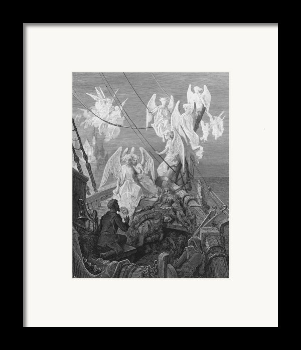 The Mariner Sees The Band Of Angelic Spirits Framed Print By Gustave Dore