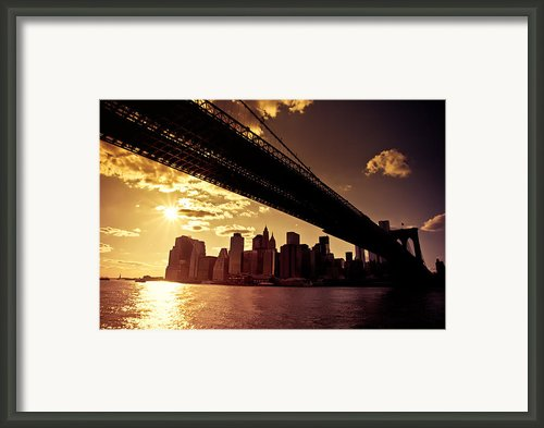 The New York City Skyline - Sunset Framed Print By Vivienne Gucwa