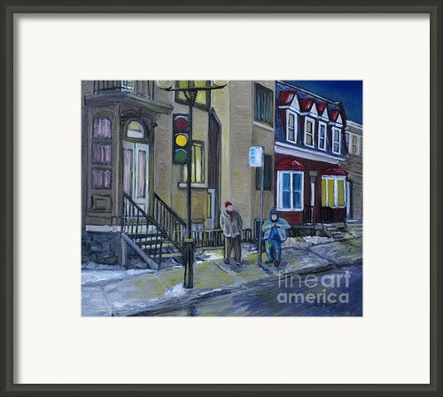 The Night Shift Waiting For The Bus Framed Print By Reb Frost