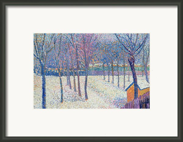 The Orchard Under The Snow  Framed Print By Hippolyte Petitjean