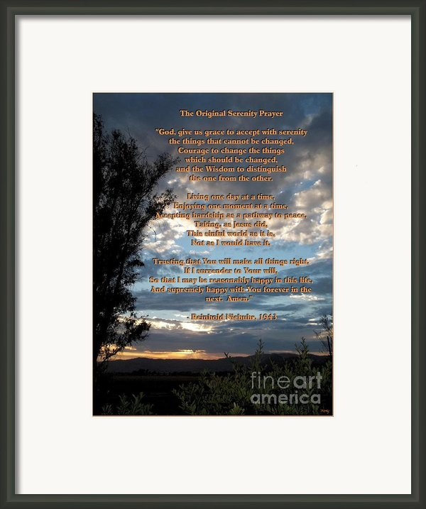 The Original Serenity Prayer Framed Print By Glenn Mccarthy Art And Photography