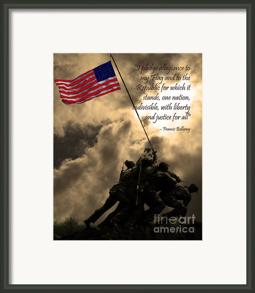 The Pledge Of Allegiance - Iwo Jima 20130211v2 Framed Print By Wingsdomain Art And Photography