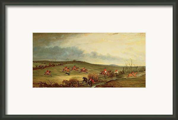 The Quorn In Full Cry Near Tiptoe Hill Framed Print By John E Ferneley