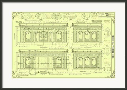 The Resolute Desk Blueprints - Soft Yellow Framed Print By Kenneth Perez