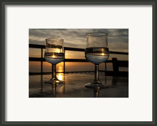 The Sky In Wine Glasses Of Lovers Framed Print By Catalina Lira