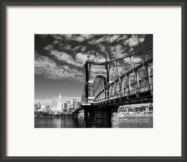 The Suspension Bridge Bw Framed Print By Mel Steinhauer