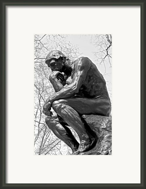 The Thinker In Black And White Framed Print By Lisa  Phillips