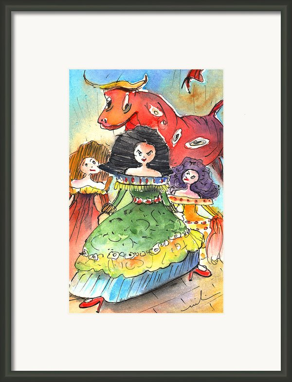 The Three Graces From Lanzarote And The Red Bull Framed Print By Miki De Goodaboom