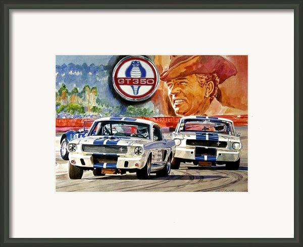 The Thundering Blue Stripe Gt-350 Framed Print By David Lloyd Glover