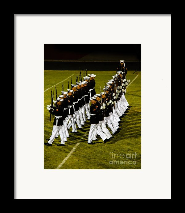 The United States Marine Corps Silent Drill Platoon Framed Print By Robert Bales