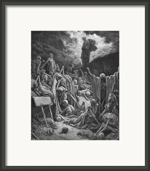 The Vision Of The Valley Of Dry Bones Framed Print By Gustave Dore