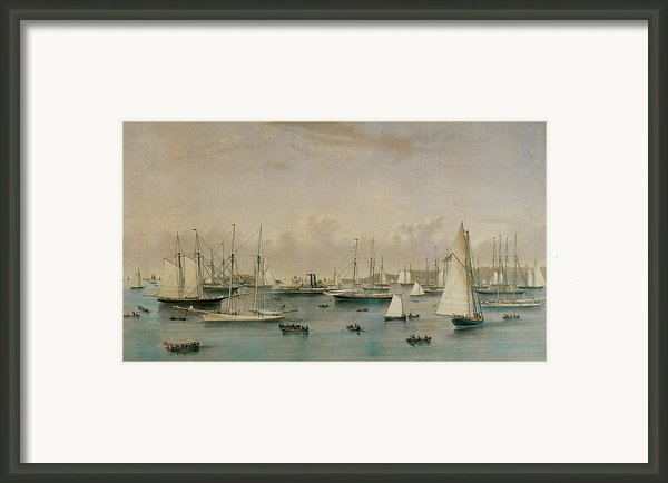 The Yacht Squadron At Newport Framed Print By Nathaniel Currier And James Merritt Ives